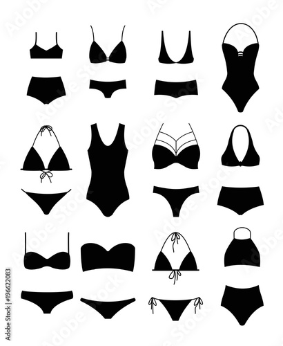 Obraz na płótnie Vector illustration set of silhouettes of modern swimsuits and women s underwear on white background