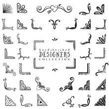 Vintage Decorative Corners Collection. Hand Drawn Vector Design Elements.
