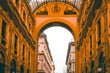 Leinwanddruck Bild - Entrance view of Galleria Vittorio Emanuele II