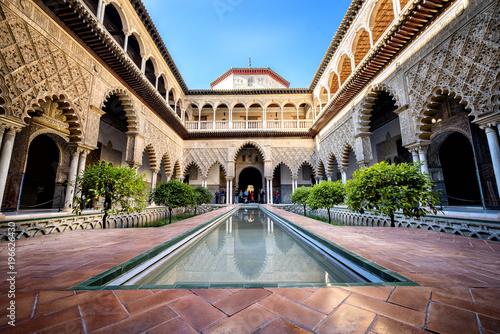 SEVILLE, SPAIN: Real Alcazar in Seville. Patio de las Doncellas in Royal palace, Real Alcazar (built in 1360), Spain