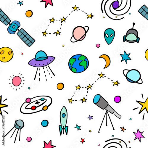 Kosmos astronomii przestrzeni prosty wzór. Niekończący się galaktyki inspiraci graficznego projekta typografii element. Ręcznie rysowane Słodkie proste tło wektor.
