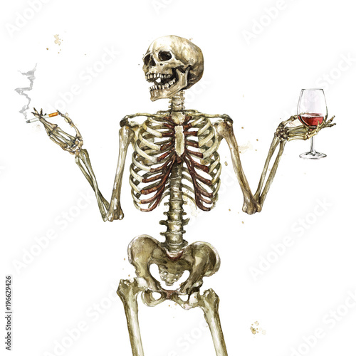 Ingelijste posters Waterverf Illustraties Human Skeleton holding cigarette and wine. Watercolor Illustration.