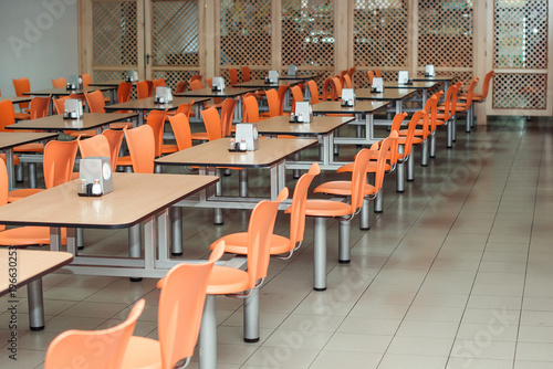the interior of cafeteria or canteen, nobody Canvas