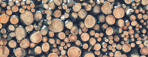 Natural wooden logs background, stacked firewood.