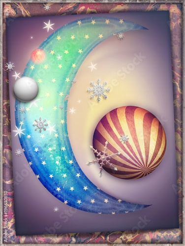 Papiers peints Imagination Fairytales moon and starry sky in the dreams landscape