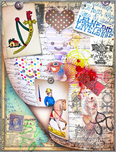 Foto op Aluminium Imagination Sfondo con tarocchi,manoscritti e disegni esoterici,alchemici e astrologici
