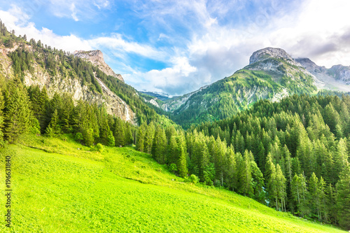 Tuinposter Lime groen Mountain landscape near Gstaad, Switzerland