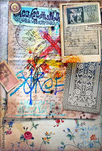 Deurstickers Imagination Sfondo con manoscritti misteriosi,formule chimiche,francobolli antichi e disegni esoterici