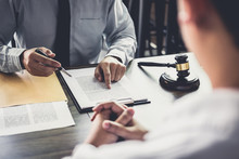 Businessman And Male Lawyer Consult Having Team Meeting With Client, Law And Legal