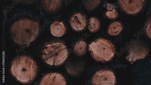Photographie  Old wood logs stacked together