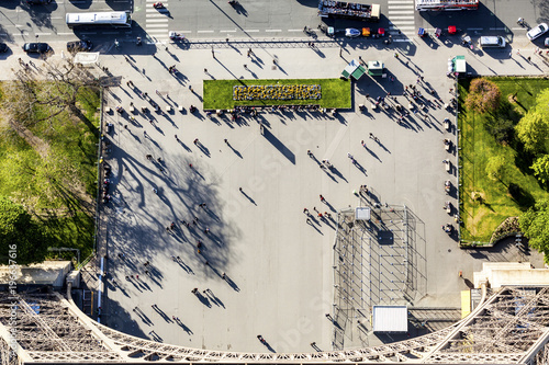 France, Ile-de-France, Paris, aerial top view of people next to the Eiffel tower