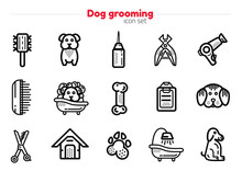 Set Of Dog Grooming Line Art I...