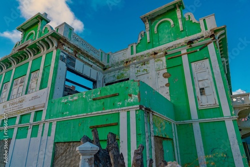 Canvas Prints Athens colorful architecture of the city of Oranjestad in Aruba in the typical Caribbean colonial style