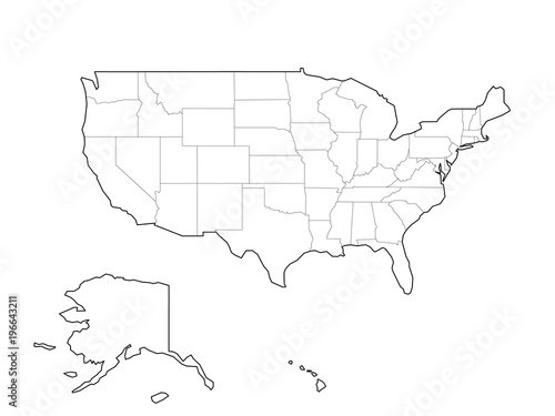 Blank black vector outline map of USA, United States of America.
