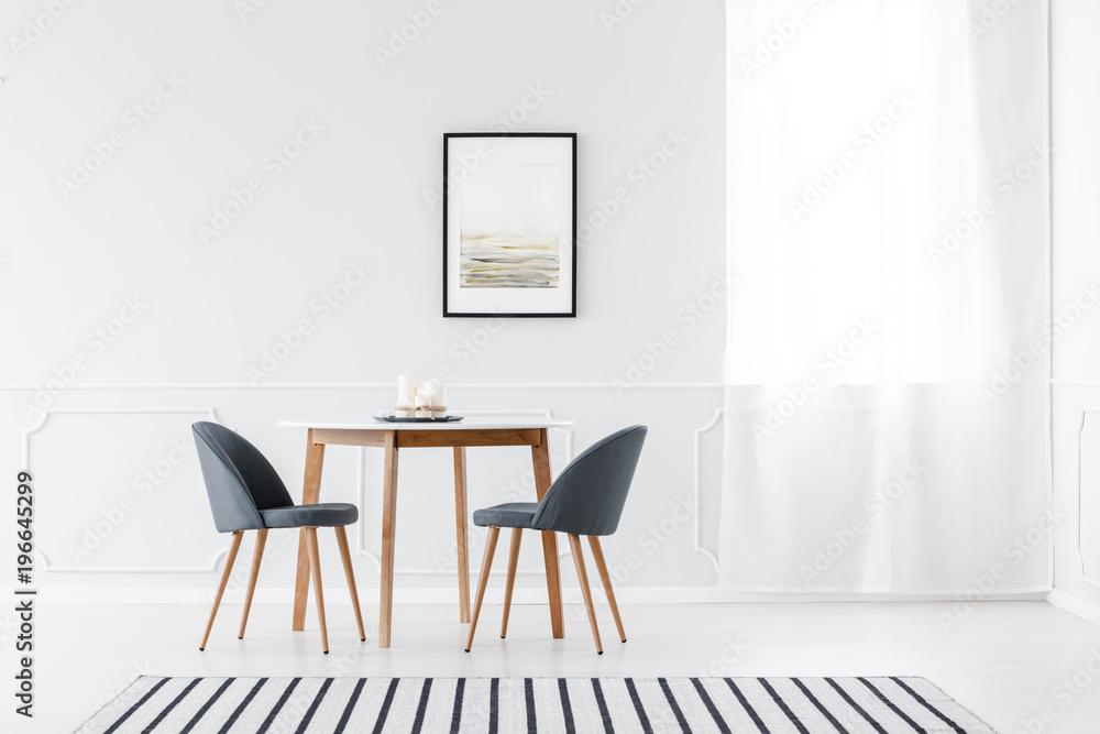 Fototapety, obrazy: Minimalist dining room with poster