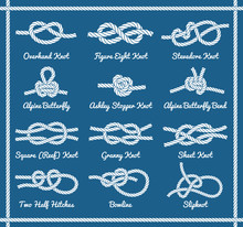 Set Of Rope Knots, Hitches, Bo...