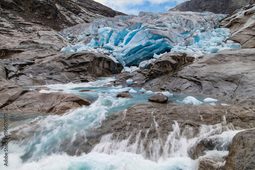 Fotobehang Gletsjers Melting of the Nigardsbreen Glacier, Jostedalsbreen National Park, Norway.