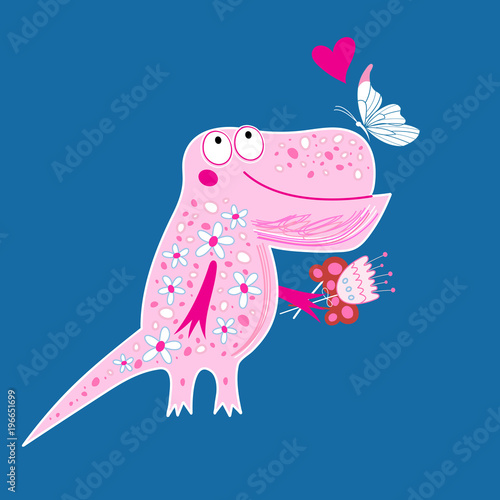 Photo  Bright postcard with a funny enamored dinosaur
