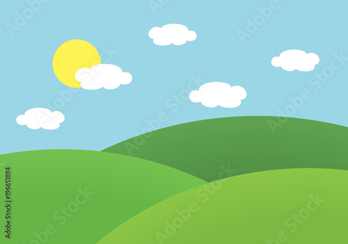 Foto op Canvas Lichtblauw Flat design illustration of landscape with meadow and hill under blue sky with sun and clouds