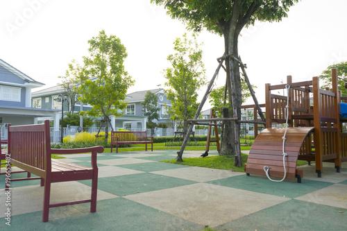 Fototapeta Children's playground leftover in the park obraz na płótnie