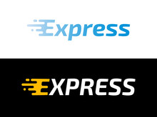 Transport Logistic Or Express Delivery Post Mail Logo For Courier Logistics Shipping Service. Vector Isolated Express Motion Icon Template For Transportation And Postal Logistics Company Design
