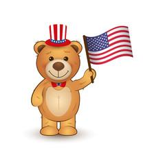 Vector Cartoon Teddy Bear With...