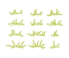 Set Of Green Grass Tufts, Clip...