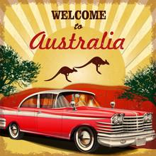 Welcome To Australia Retro Poster.Печать
