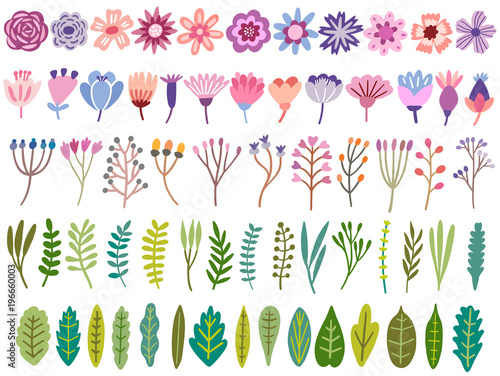 Vector floral set. Flower, blossom, leaf, herb isolated Wall mural