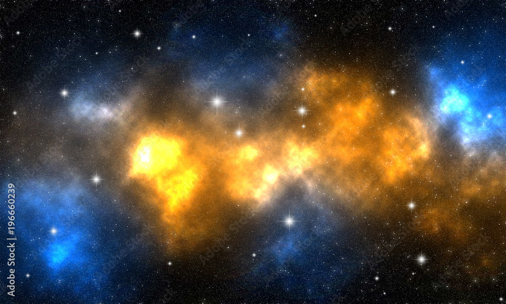 Fototapety, obrazy: orange and blue nebula with stars in deep space / illustration depicting celestial bodies and an orange and blue nebula in deep space