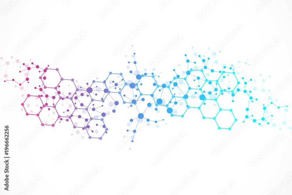 Fototapety, obrazy: Structure molecule and communication. Dna, atom, neurons. Scientific concept for your design. Connected lines with dots. Medical, technology, chemistry, science background. illustration.
