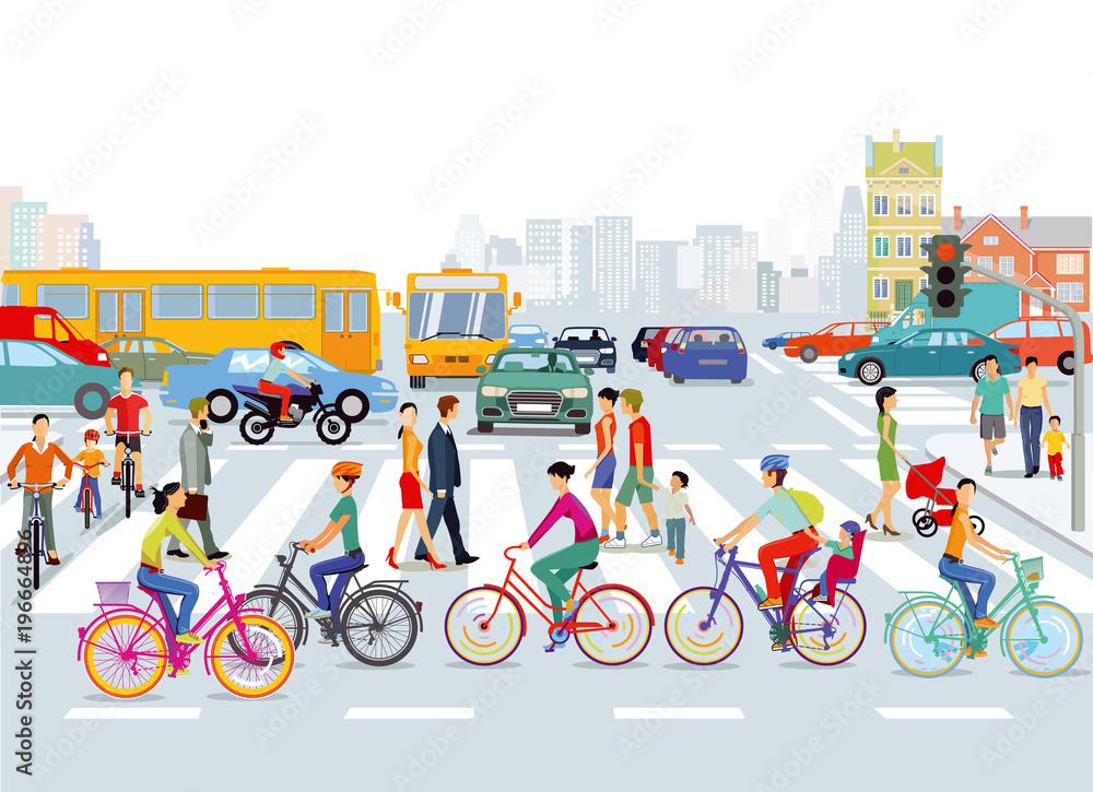 Fototapeta Stadt mit Straßenverkehr, Radfahrer und Fußgänger, Illustration