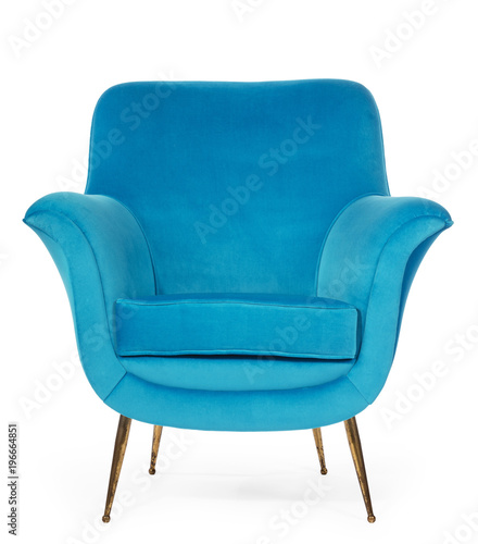 Old retro sixties style chair in blue Fototapete