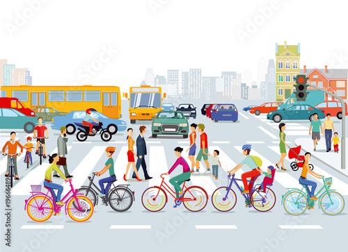 Obraz Stadt mit Straßenverkehr, Radfahrer und Fußgänger, Illustration - fototapety do salonu