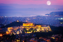 Cityscape Of Athens At Night, ...