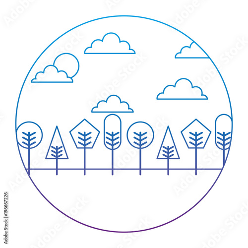 Valokuva  landscape natural trees and clouds with geometrical shape round design vector il