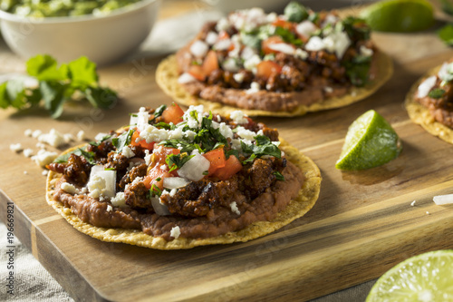 Homemade Beef and Cheese Tostadas Canvas Print