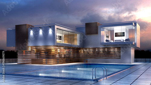 Fotografie, Obraz  3D Illustration of a modern luxury house with a pool