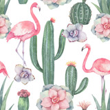 Watercolor vector seamless pattern of pink flamingo, cacti and succulent plants isolated on white background. - 196671206