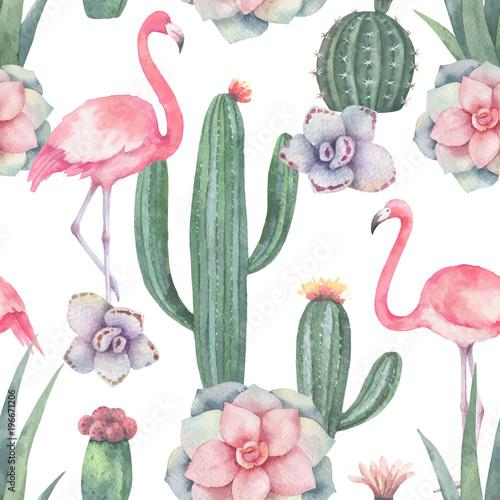 akwarela-wektorowy-bezszwowy-wzor-rozowy-flaming-kaktusy-i-sukulent-rosliny-odizolowywajacy-na-bialym-tle
