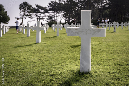 Poster  Rows of graves at the American Cemetary, in Normandy, Northern France