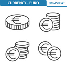 Euro Icons. Professional, Pixel Perfect Icons Depicting Various Euro Currency Concepts. EPS 8 Format.