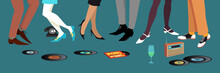 Legs Of People Dancing And Socializing At 1950s -  1960s Party, Vinyl Records And Transistor Radio On The Floor, EPS 8 Vector Illustration