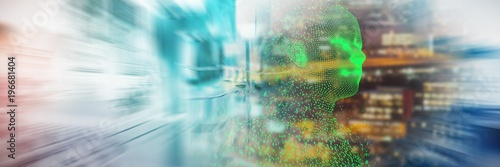 Fotografie, Obraz  Composite image of profile view illustration of pixelated 3d