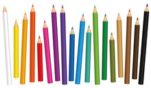 Crayons. Colored Pencil Set Loosely Arranged In Different Lengths - Isolated Vector Illustration On White Background.