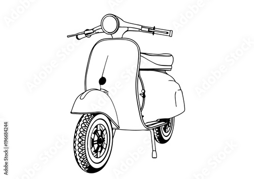 Photo  sketch moped vector