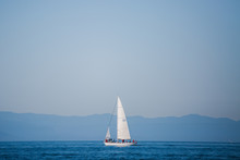 Sailboat In An International Yacht Race On Open Water