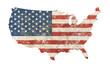 Leinwandbild Motiv US map shaped grunge vintage faded American flag