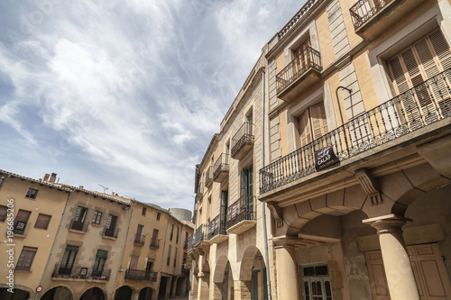 Street view, houses in square, Plaza Gran in village of Calaf,Catalonia,Spain Wallpaper Mural