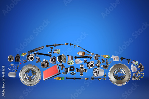Passenger car assembled from new spare auto parts for shop aftermarket Wallpaper Mural